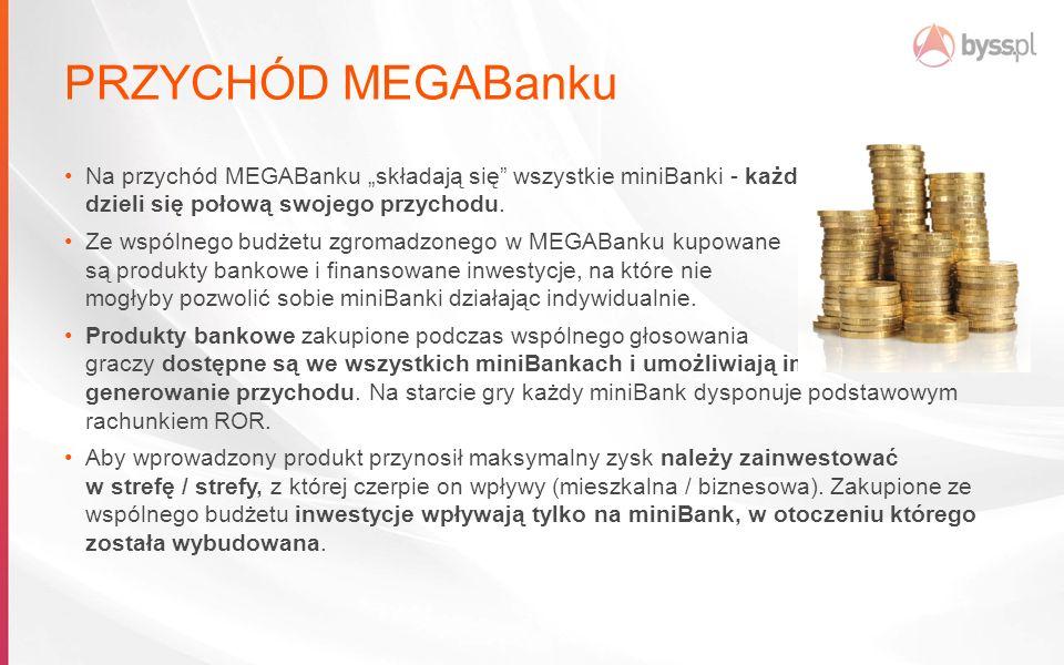 """PRZYCHÓD MEGABanku Na przychód MEGABanku """"składają się wszystkie miniBanki - każdy dzieli się połową swojego przychodu."""
