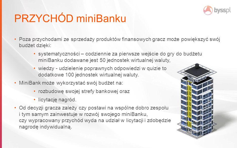 PRZYCHÓD miniBanku Poza przychodami ze sprzedaży produktów finansowych gracz może powiększyć swój budżet dzięki: