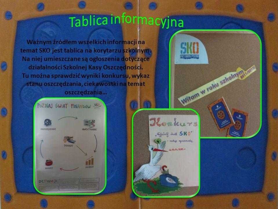 Tablica informacyjna Ważnym źródłem wszelkich informacji na temat SKO jest tablica na korytarzu szkolnym.