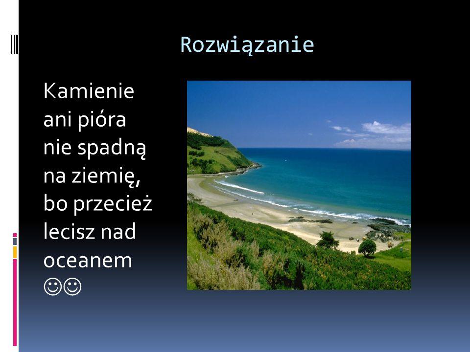 Rozwiązanie Kamienie ani pióra nie spadną na ziemię, bo przecież lecisz nad oceanem 