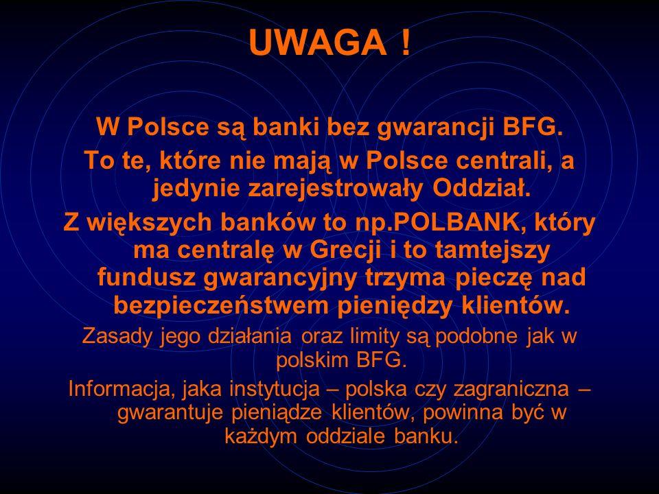 W Polsce są banki bez gwarancji BFG.