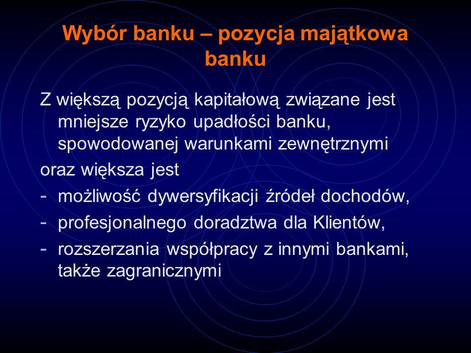 Wybór banku – pozycja majątkowa banku