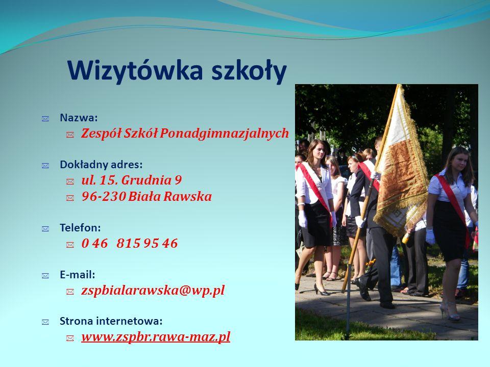 Wizytówka szkoły Zespół Szkół Ponadgimnazjalnych ul. 15. Grudnia 9