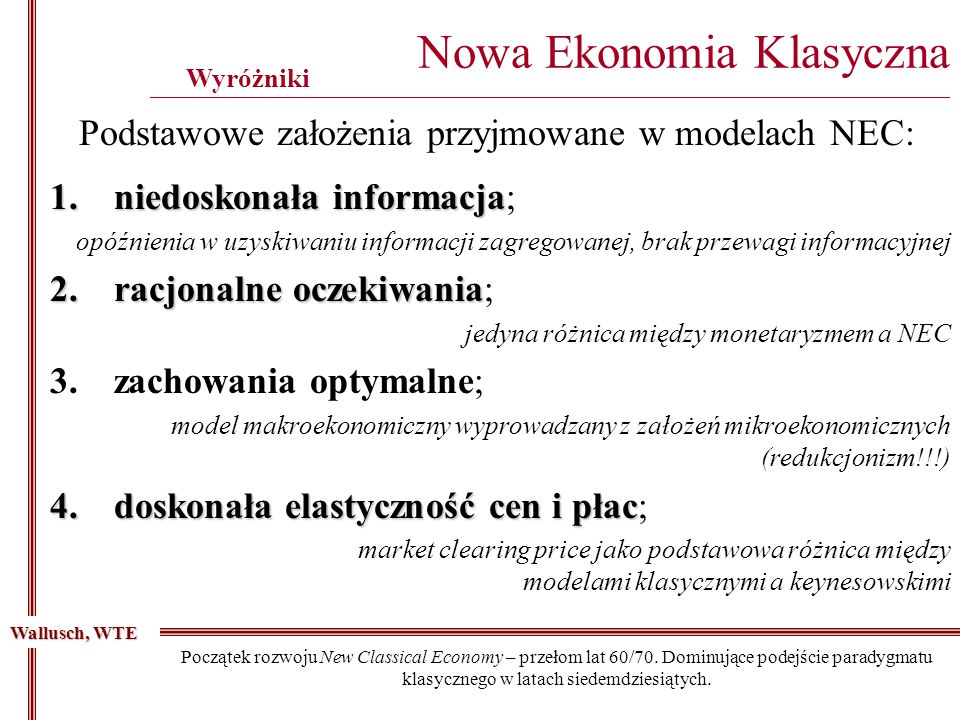 Podstawowe założenia przyjmowane w modelach NEC:
