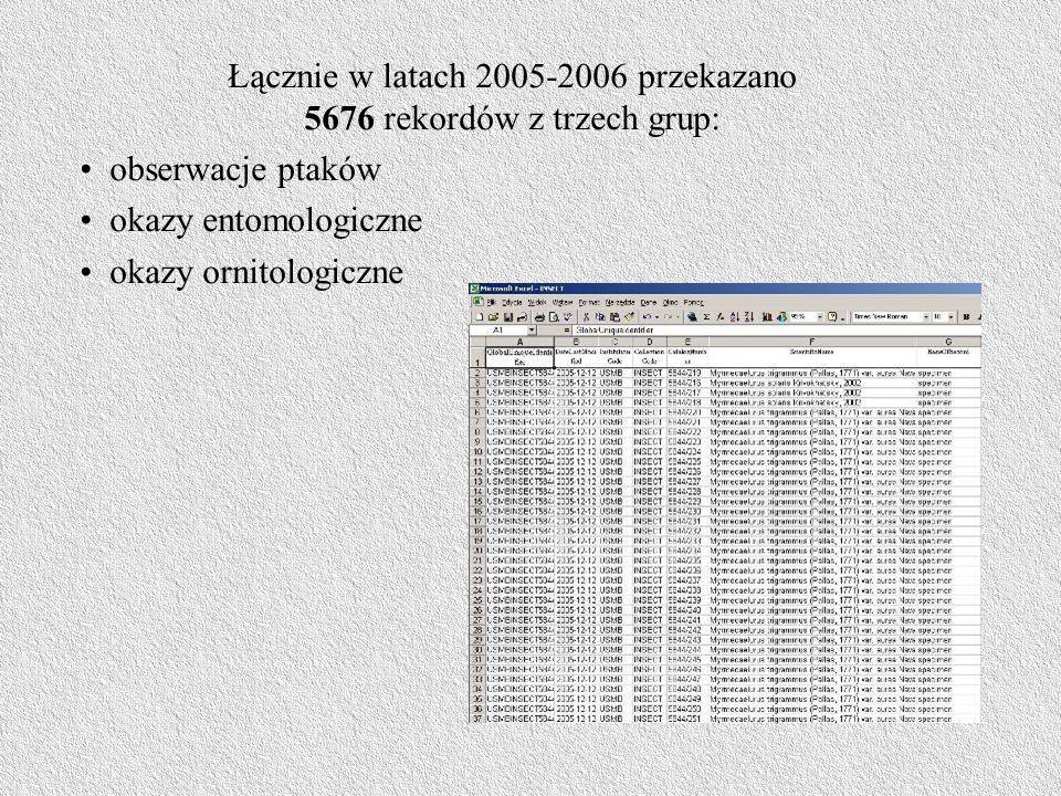 Łącznie w latach 2005-2006 przekazano 5676 rekordów z trzech grup: