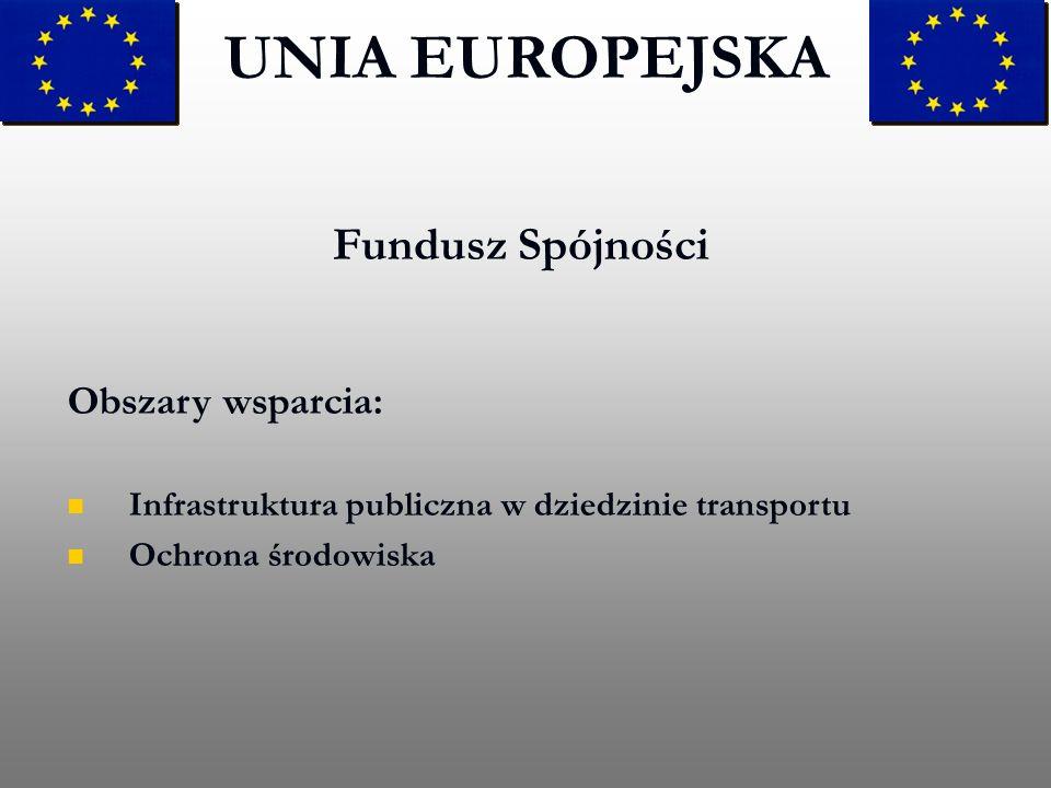UNIA EUROPEJSKA Fundusz Spójności Obszary wsparcia:
