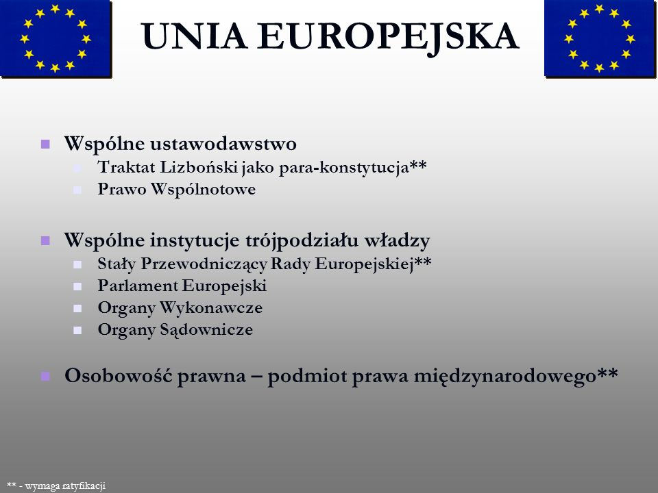UNIA EUROPEJSKA Wspólne ustawodawstwo
