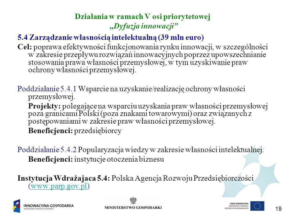 """Działania w ramach V osi priorytetowej """"Dyfuzja innowacji"""