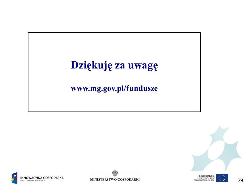 Dziękuję za uwagę www.mg.gov.pl/fundusze