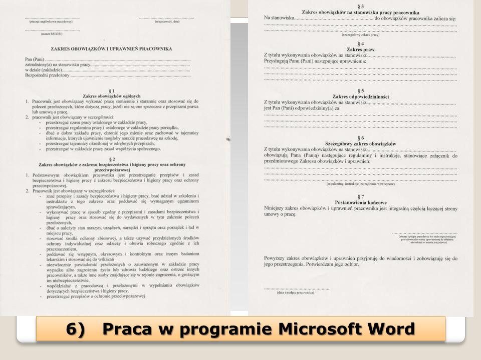 6) Praca w programie Microsoft Word