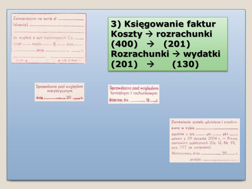 3) Księgowanie faktur Koszty  rozrachunki. (400)  (201) Rozrachunki  wydatki.