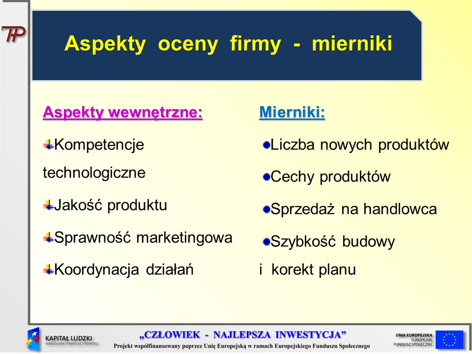 Aspekty oceny firmy - mierniki