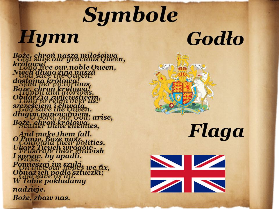 Symbole Hymn Godło Flaga God save our gracious Queen,