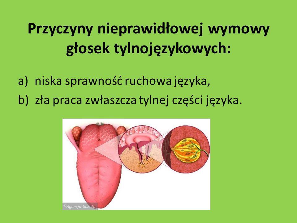 Przyczyny nieprawidłowej wymowy głosek tylnojęzykowych: