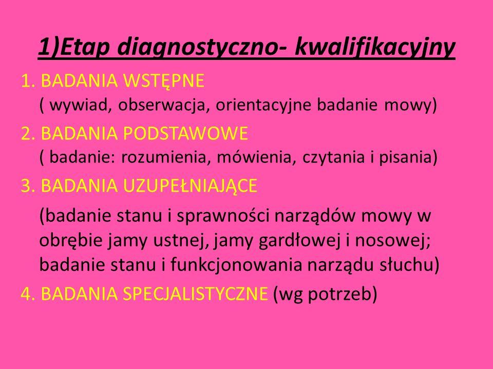 1)Etap diagnostyczno- kwalifikacyjny
