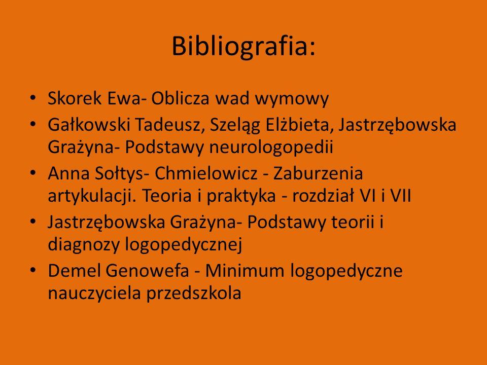 Bibliografia: Skorek Ewa- Oblicza wad wymowy