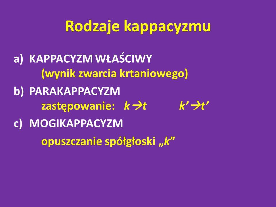 Rodzaje kappacyzmu KAPPACYZM WŁAŚCIWY (wynik zwarcia krtaniowego)