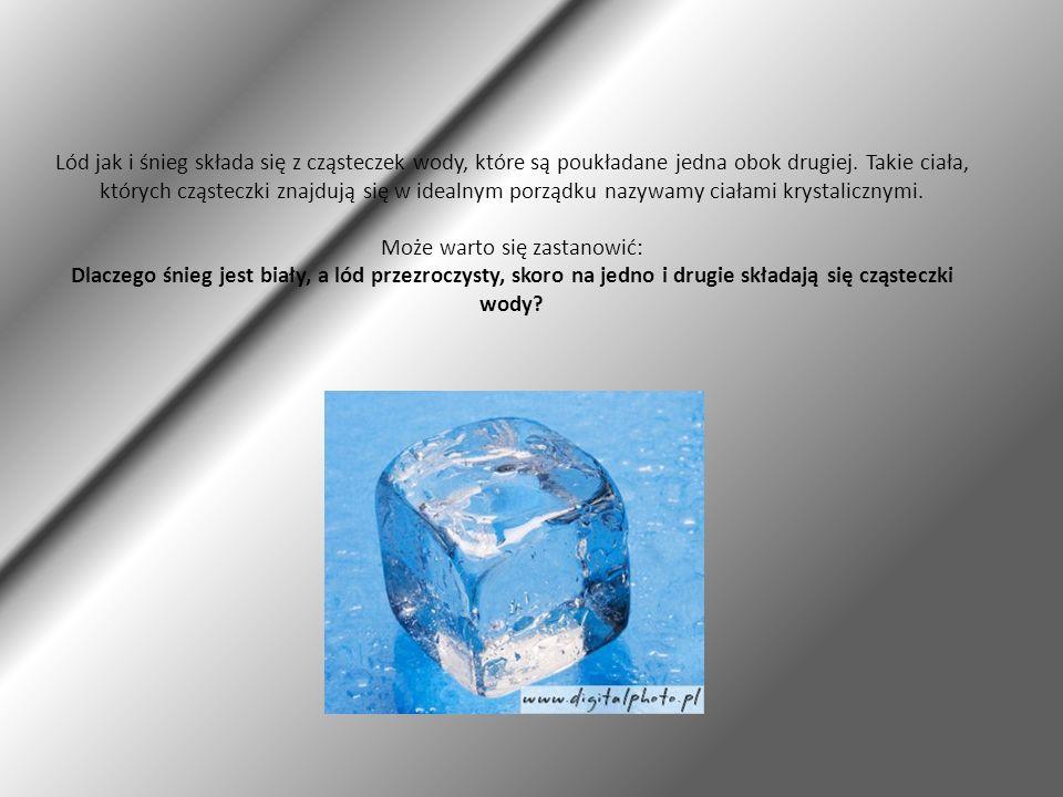 Lód jak i śnieg składa się z cząsteczek wody, które są poukładane jedna obok drugiej.