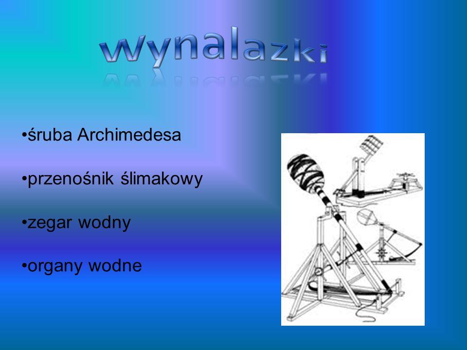 Wynalazki śruba Archimedesa przenośnik ślimakowy zegar wodny