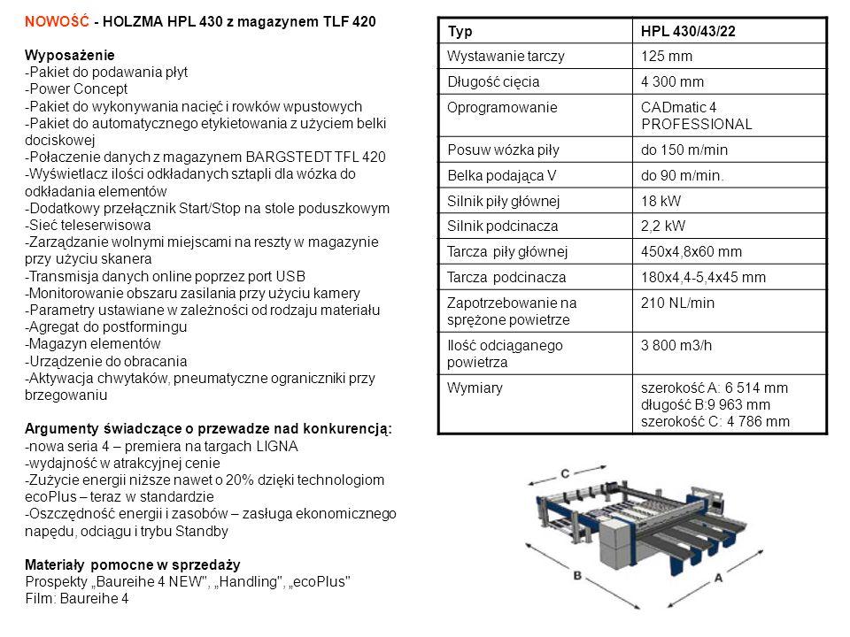 NOWOŚĆ - HOLZMA HPL 430 z magazynem TLF 420