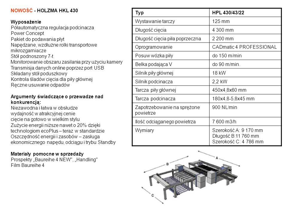 NOWOŚĆ - HOLZMA HKL 430 Wyposażenie. Półautomatyczna regulacja podcinacza. Power Concept. Pakiet do podawania płyt.