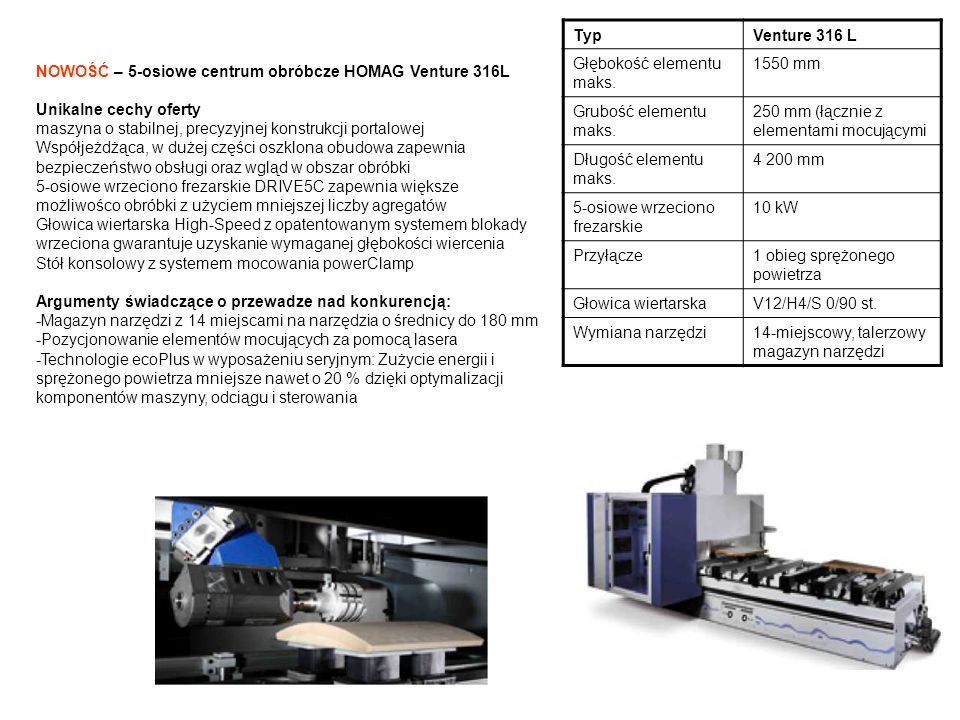 Typ Venture 316 L. Głębokość elementu maks. 1550 mm. Grubość elementu maks. 250 mm (łącznie z elementami mocującymi.