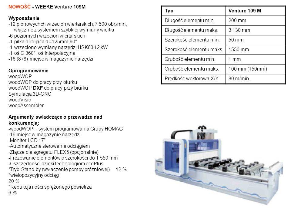 Typ Venture 109 M. Długość elementu min. 200 mm. Długość elementu maks. 3 130 mm. Szerokość elementu min.