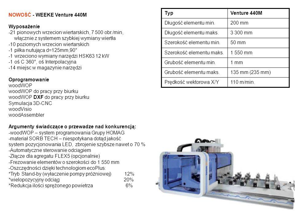 Typ Venture 440M. Długość elementu min. 200 mm. Długość elementu maks. 3 300 mm. Szerokość elementu min.