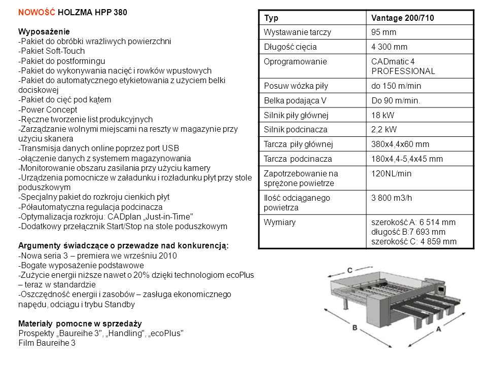 NOWOŚĆ HOLZMA HPP 380 Wyposażenie. -Pakiet do obróbki wrażliwych powierzchni. -Pakiet Soft-Touch.