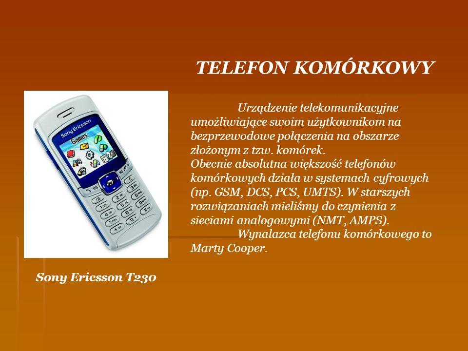TELEFON KOMÓRKOWY Urządzenie telekomunikacyjne umożliwiające swoim użytkownikom na bezprzewodowe połączenia na obszarze złożonym z tzw. komórek.