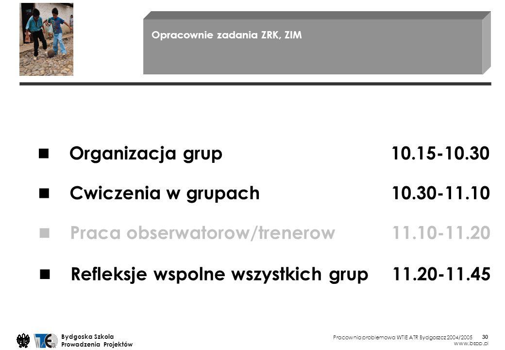 ■ ■ ■ ■ Organizacja grup 10.15-10.30 Cwiczenia w grupach 10.30-11.10