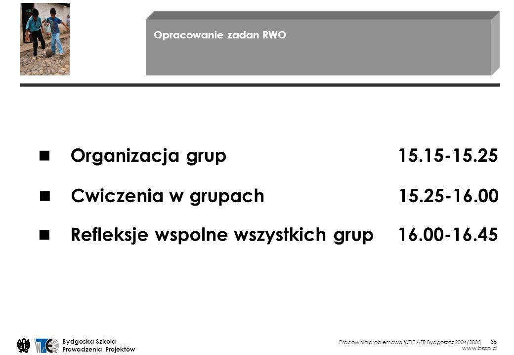 ■ ■ ■ Organizacja grup 15.15-15.25 Cwiczenia w grupach 15.25-16.00