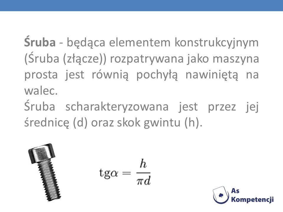 Śruba - będąca elementem konstrukcyjnym (Śruba (złącze)) rozpatrywana jako maszyna prosta jest równią pochyłą nawiniętą na walec.