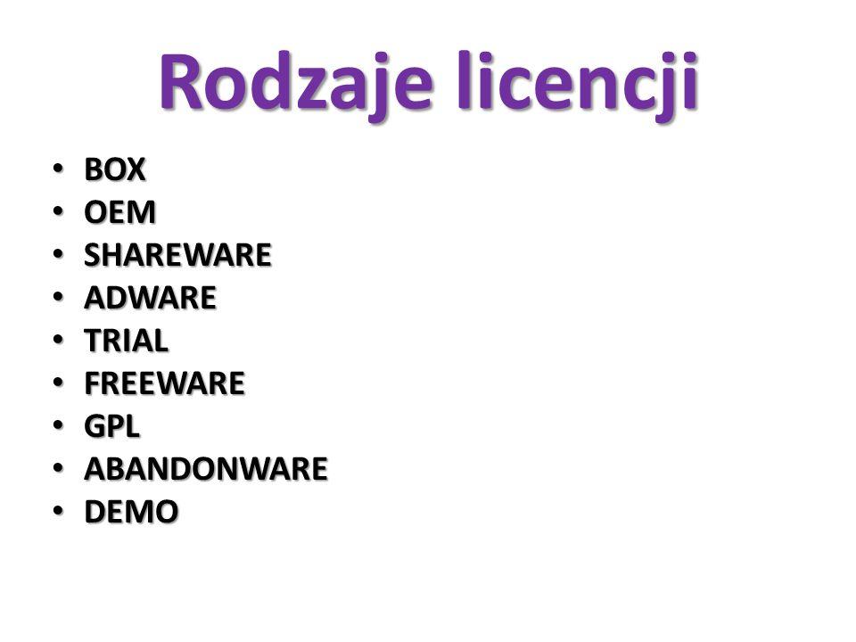 Rodzaje licencji BOX OEM SHAREWARE ADWARE TRIAL FREEWARE GPL