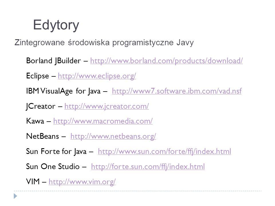 Edytory Zintegrowane środowiska programistyczne Javy