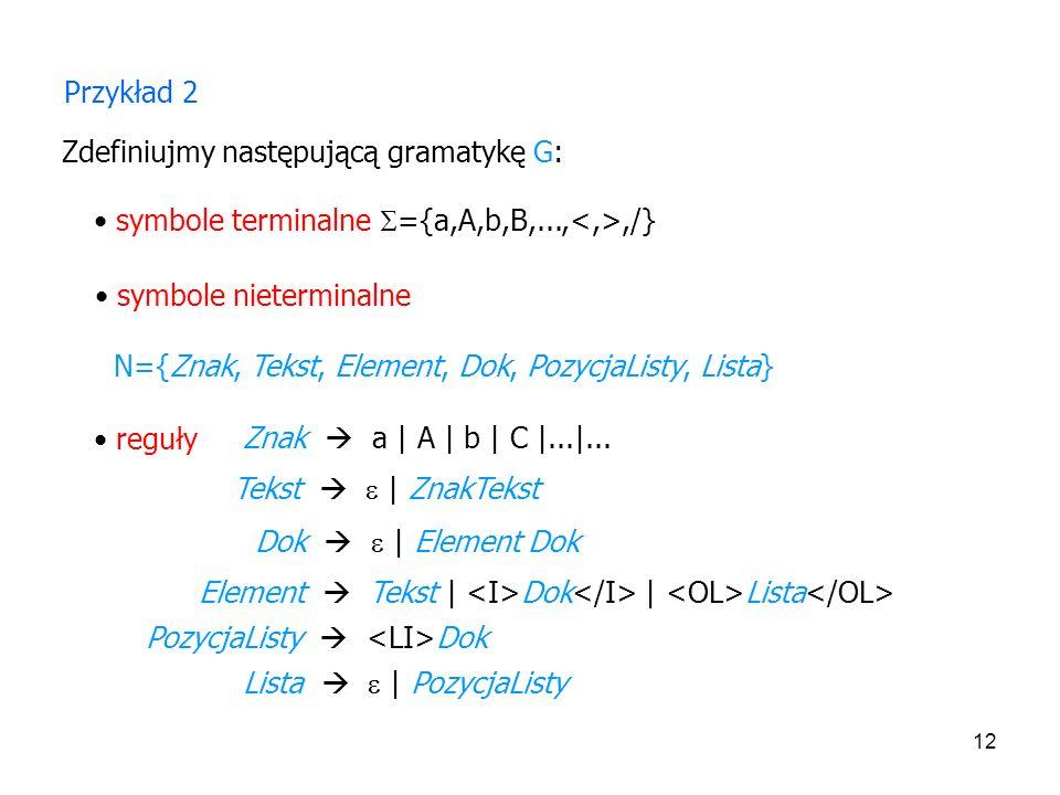 Przykład 2Zdefiniujmy następującą gramatykę G: symbole terminalne ={a,A,b,B,...,<,>,/} symbole nieterminalne.