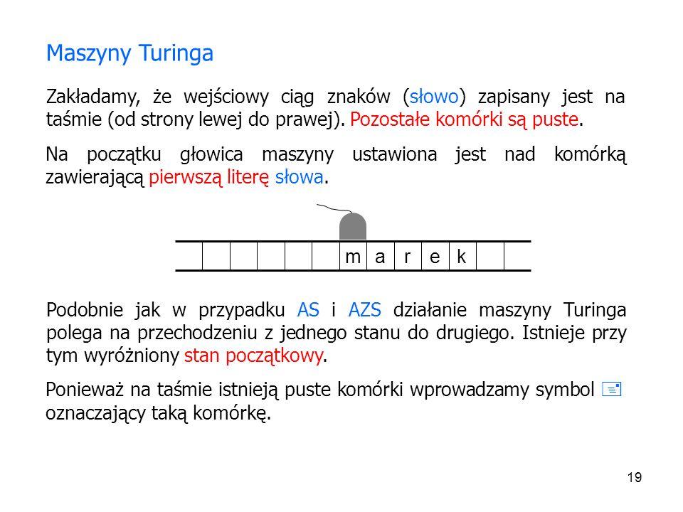Maszyny Turinga Zakładamy, że wejściowy ciąg znaków (słowo) zapisany jest na taśmie (od strony lewej do prawej). Pozostałe komórki są puste.