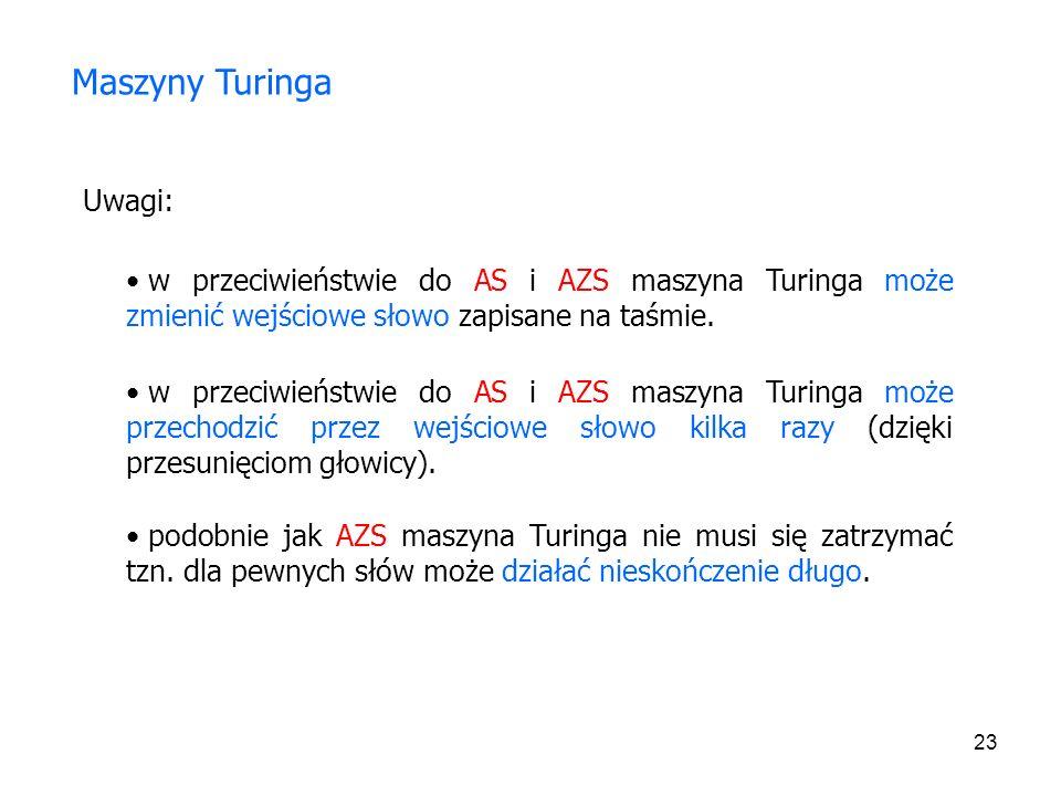 Maszyny Turinga Uwagi: