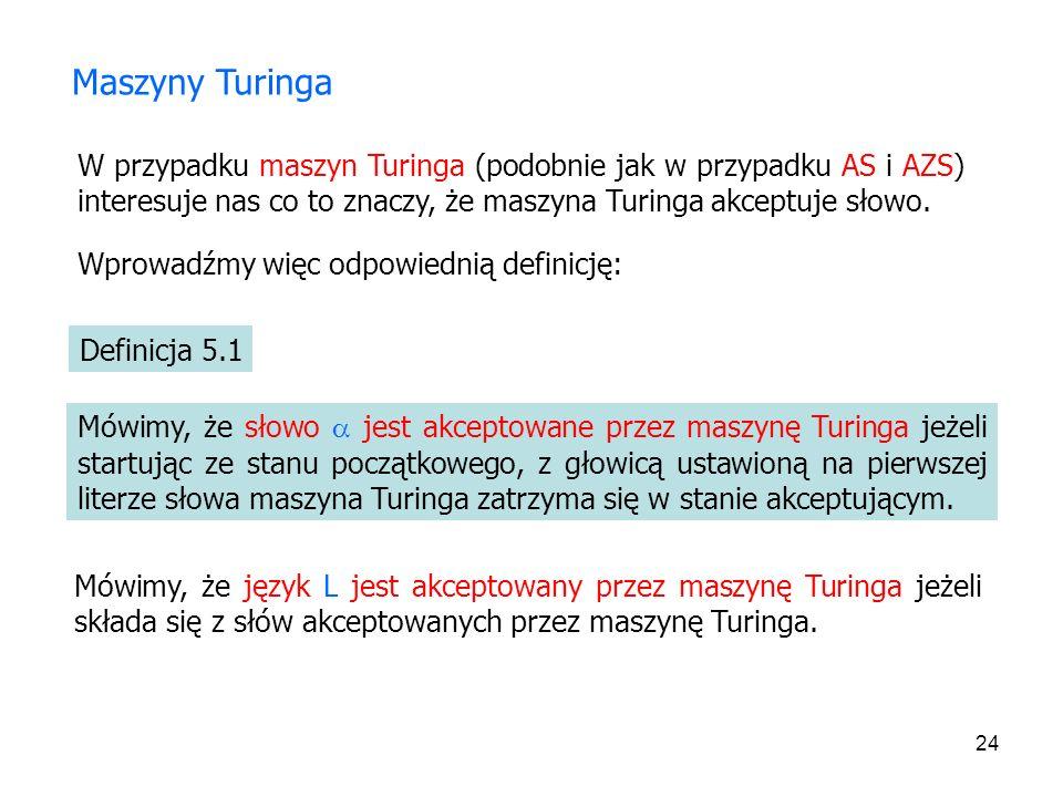 Maszyny Turinga W przypadku maszyn Turinga (podobnie jak w przypadku AS i AZS) interesuje nas co to znaczy, że maszyna Turinga akceptuje słowo.