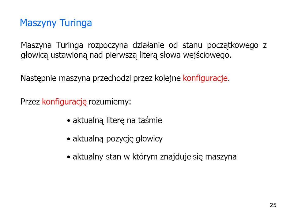 Maszyny Turinga Maszyna Turinga rozpoczyna działanie od stanu początkowego z głowicą ustawioną nad pierwszą literą słowa wejściowego.