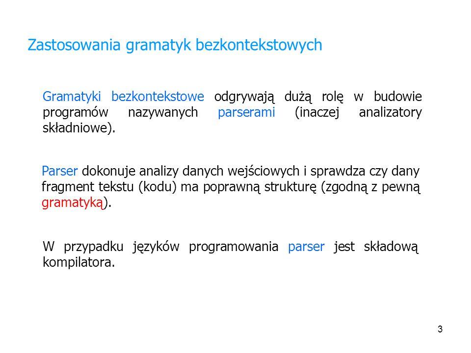 Zastosowania gramatyk bezkontekstowych