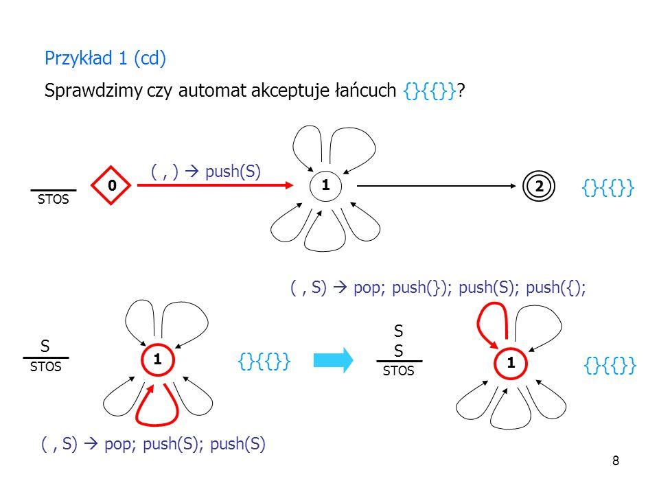 Sprawdzimy czy automat akceptuje łańcuch {}{{}}
