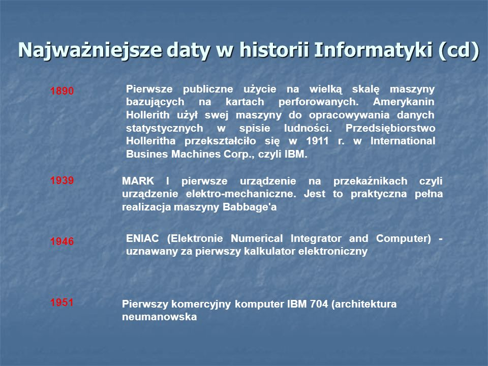 Najważniejsze daty w historii Informatyki (cd)