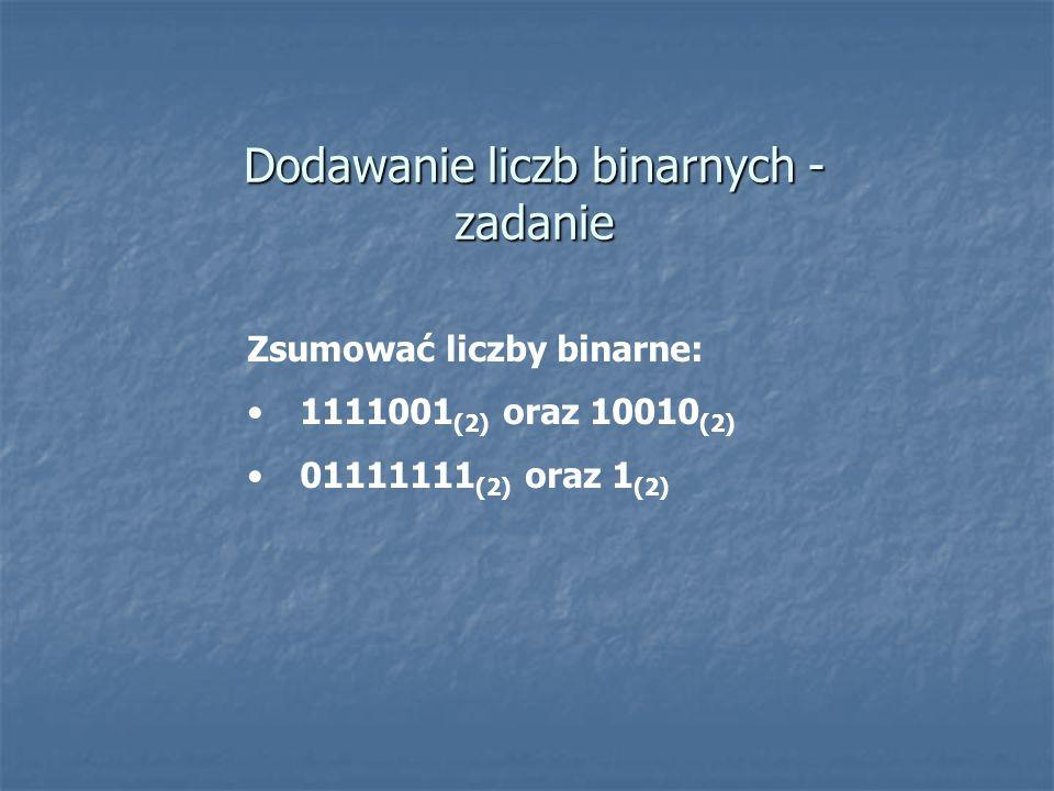 Dodawanie liczb binarnych - zadanie