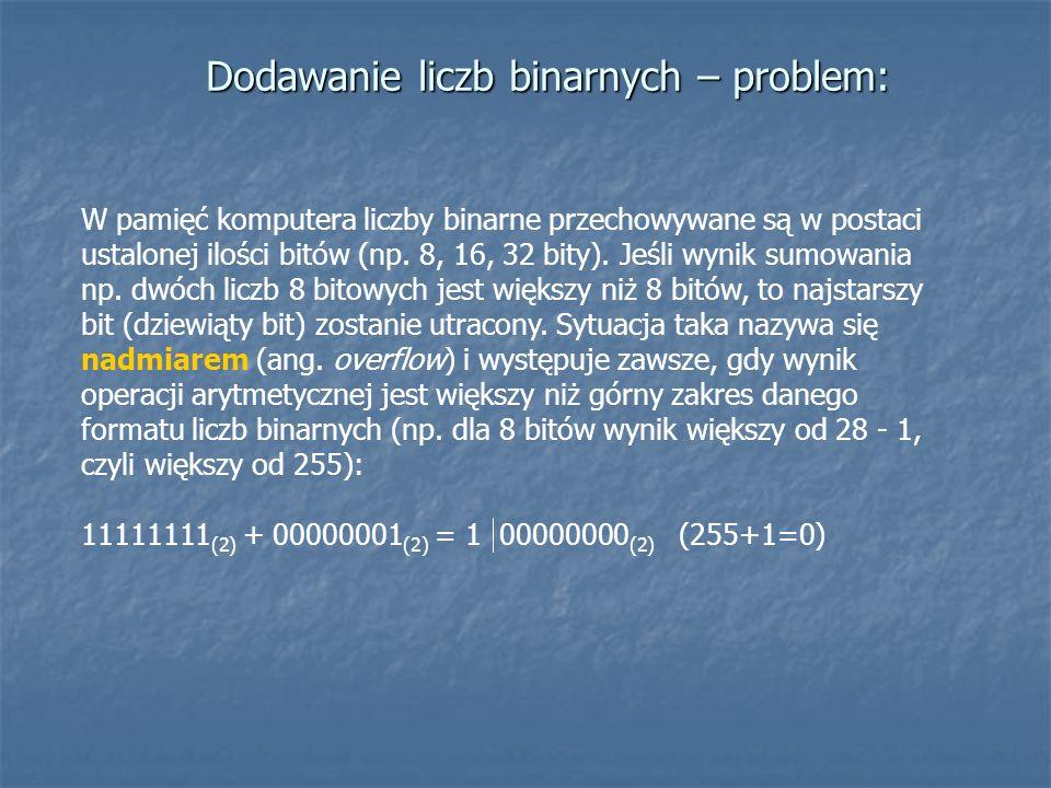 Dodawanie liczb binarnych – problem: