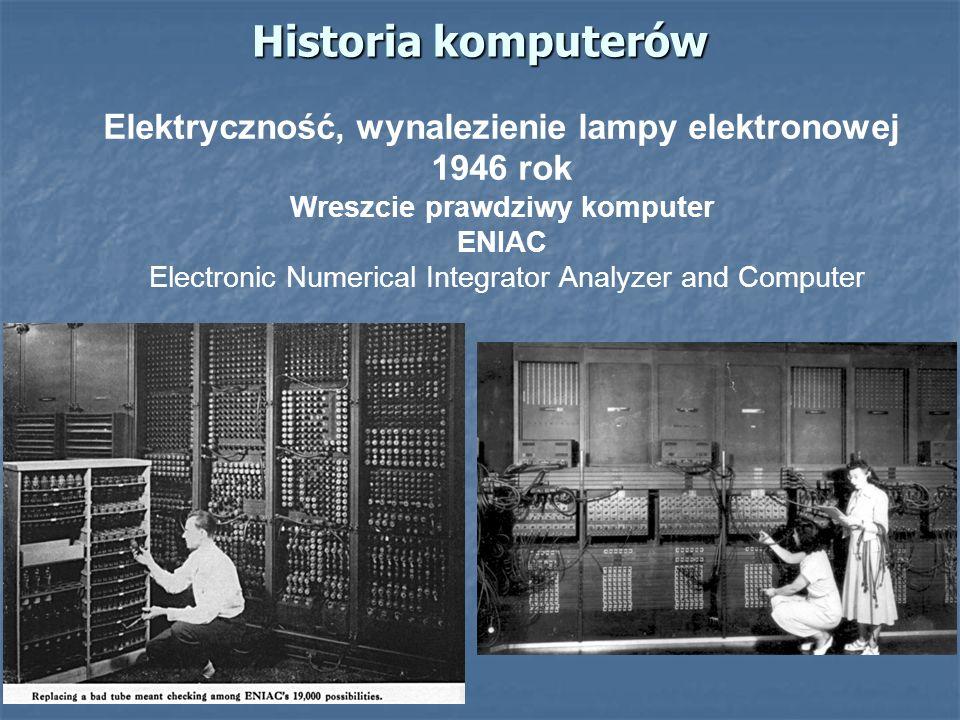 Historia komputerów Elektryczność, wynalezienie lampy elektronowej