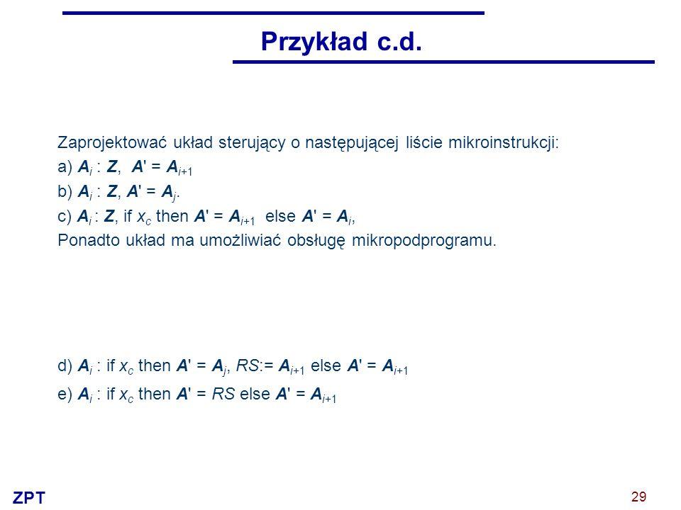 Przykład c.d. Zaprojektować układ sterujący o następującej liście mikroinstrukcji: a) Ai : Z, A = Ai+1.