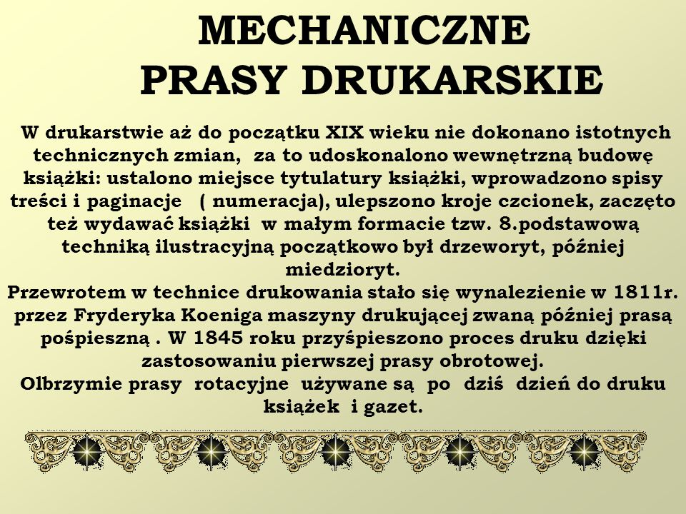 MECHANICZNE PRASY DRUKARSKIE
