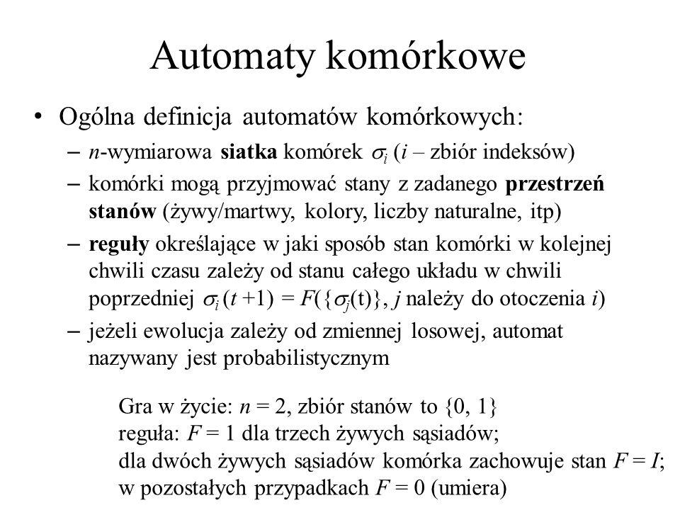 Automaty komórkowe Ogólna definicja automatów komórkowych:
