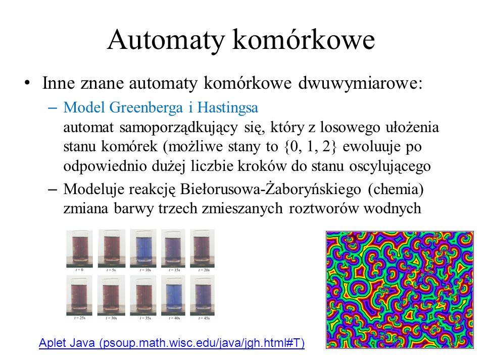 Automaty komórkowe Inne znane automaty komórkowe dwuwymiarowe: